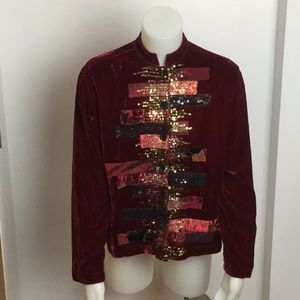 Chico's Velvet sequined multi colored blouse S